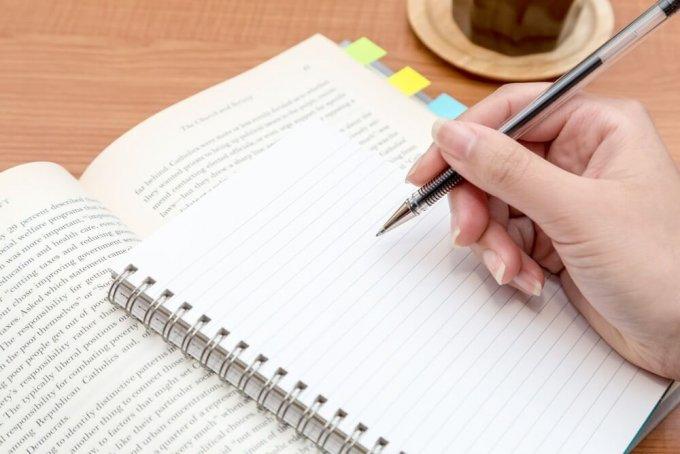 参考書の付箋とノート:photo すしぱく